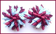 Burgundy Light Blue Korker Hair Bows-burgundy, light blue,korker, corker, curly, bow, bows, hair bows, hairbows, clips, bobbles, girly, school uniform, dance, cheerleader, gym, netball,football, games, uk, scotland, rosgrain ribbon, toddler, boutique, bowtique