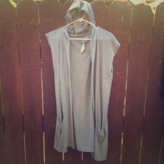 Hoodie Slouch Cardigan Gray hoodie, short sleeved cardigan, 2 pockets. Purchased SF boutique. Excellent condition. Sweaters Cardigans