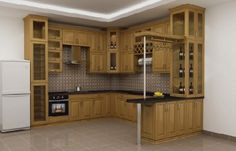 Tủ bếp gỗ sồi Nga giá rẻ, chất lượng mẫu mã đẹp - Mẫu tủ bếp đẹp