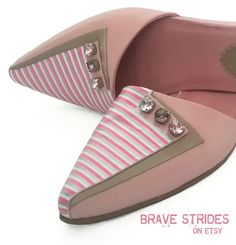 Custom Hand Painted Striped Shoes - Choose Your Three Colours. Choose Stripe Direction. Unique shoes. Statement Shoes. I paint your shoes!  #pink #shoes #stripes