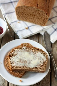 100% Whole Wheat Bread that is so yummy!  I just substituted the molasses with raw honey. Perfect for sandwiches!
