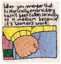 Ahem! Embroidery Artist Weaves Memes with Modern Feminism | The Creators Project