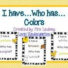 This FREEBIE contains I have..Who has? games for  Colors Colors with Color Words Color Words Only  These games are great for review when you have a few minutes here or there and are great to put in your packet of goodies when you have a sub.