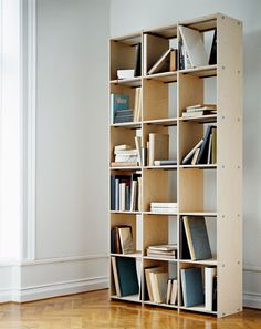 LLLP SHELF SYSTEM  Shelf system with visible assembly bolts and steel pipes.  Design : Lex Ørneborg