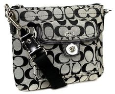 Coach Signature Swingpack Crossbody Bag, Style 45026 Black White - Cross Body - Bags and Purses Discount Coach Bags, Coach Bags Outlet, Cheap Coach Bags, Fabric Crossbody Bags, Crossbody Messenger Bag, Tote Bags, Mk Bags, Backpack Purse, Leather Crossbody