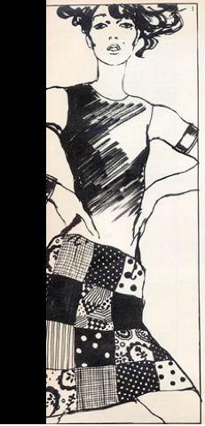 Illustration by Antonio Lopez, 1965, Marie Bonheur Couture.