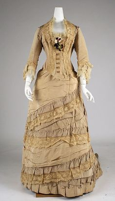 From the Metropolitan museum of art.  Afternoon dress late 1870's British silk  [label] Elise, 170 Regent St., London