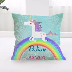 Unicorn Cushion Cover Believe Miracles Cartoon Pillow Cover Animal Kids Home New #PillowCushionChina #Cartoon