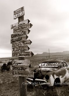 Which Way Today  -12 x 18  Limited Edition Route 66 Black and White  Photograph - Travel Photography - gift for him - home decor