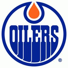 WHA Edmonton Oilers Primary Logo (1974) - A royal blue and white oval with OILERS written inside and an orange oil drop above