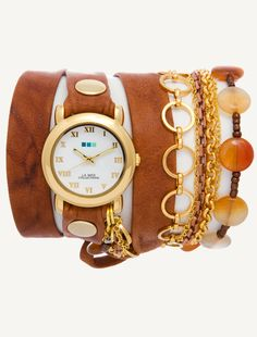 Tobacco Wash Leather/Gold Details. Gold Circle case. Gold rivets. Sedona Stones. Gold Buckle.