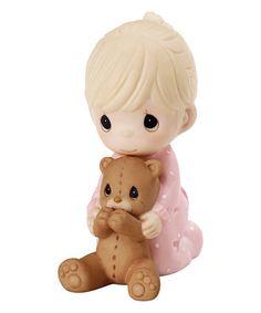 Look at this #zulilyfind! Baby Girl & Teddy Bear in Prayer Figurine #zulilyfinds
