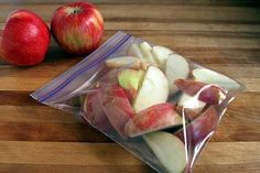 DIY Apple Slices --- Those packages of pre-sliced apples you can buy at store are great for a healthy snack on the go but the price can add up. Make your own by slicing apples, soak in cold water for 3-5 minutes, then soak in a lemon-lime carbonated soda (such as 7-up or sprite) for 3-5 minutes. Divide into snack size portions and store in Ziploc bags in the fridge. The lemon-lime soda will keep the apples from browning and make them last longer. LOVE THIS IDEA!