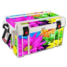 MightySkins Protective Vinyl Skin Decal for Pelican 65 qt Cooler wrap cover sticker skins Colorful Flowers -- Details can be found by clicking on the image.