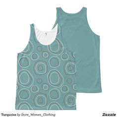 Turquoise All-Over Print Tank Top #Turquoise All-Over #Print #Tank #Top
