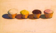 Wayne Thiebaud Four Cupcakes 1971 Oil on paper mounted on canvas