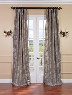 Priscilla Taupe Pewter Faux Silk Curtains & Drapes