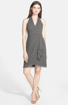 Jenny Yoo 'Tatum' Side Drape Chiffon Halter Dress available at #Nordstrom