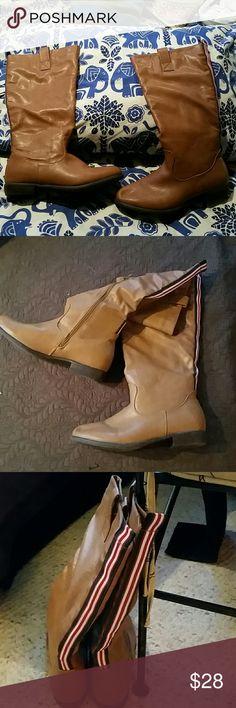 Size 8 womens  boots Light tan, from Frascescas. In super condition, red.white.blue stripe decorates the back of the boot, 3/4 zip on side, faux leather, do not think they've been worn. An inch heel, from top to heel, 15 inches, approximately 15+ inches around top. No brand Shoes Winter & Rain Boots