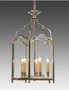Style#LL-64-Cast brass and beveled glass English style five light lantern. Shown in custom polished nickel finish.