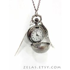 The Silver Snitch Steampunk Pocketwatch Necklace ($25) ❤ liked on Polyvore featuring jewelry, necklaces, silver pocket watches, steampunk jewelry, steam punk pocket watch, pocket watches and chain necklace