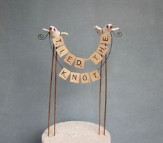 """TIED THE KNOT Wedding Cake Topper by Thequirkycorncrib on Etsy  .. or """"HITCHED"""""""