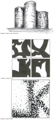 Vintage  p Cottbus University Library IKMZ Herzog u de Mueron Diagrams Facade from Distances