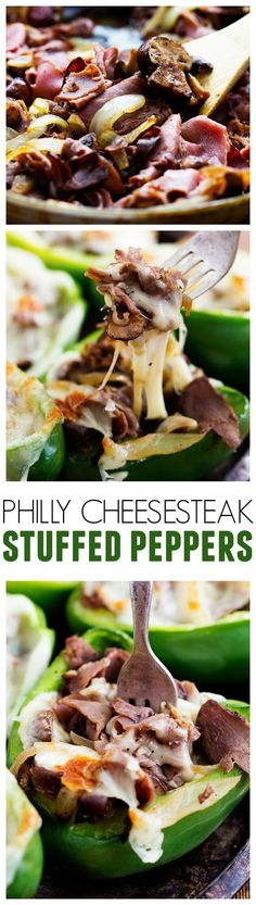 This Philly Cheesesteak Stuffed Peppers are loaded with beef, caramelized onions, mushrooms and ooey gooey cheese! But I used flat iron steak instead of roast beef Low Carb Recipes, Beef Recipes, Cooking Recipes, Recipies, Yummy Recipes, Buffalo Chicken, Nachos, Cheesesteak Stuffed Peppers, Spicy Fried Chicken