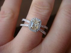 Yummy q-r cushion diamond halo engagement ring.