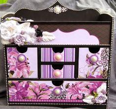 Violet Crush Jewellery Unit Desk Organization, Repurposed, The Unit, Scrapbook, Organizers, Frame, Creative, Layouts, Boxes