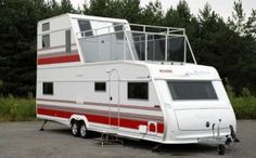 Two Story RV: A Travel Trailer with 2 Floors and Walk Out Balcony. When you can't go longer or wider there is only one direction left to go in a RV. Maybe it is time to consider a two story RV with a balcony instead.....