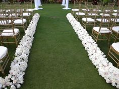 just flowers to define the lawn for the Wedding aisle runner - www.italiandestinationweddings.com