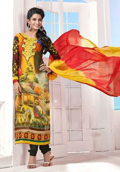 USD 50.15 Yellow Georgette Karachi Work Churidar Suit 41093