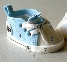 Meine Tortenwelt: Babyschuhe aus Fondant The Effective Pictures We Offer You About Cake Design recette A quality picture can tell you many things. You can find the most beautiful pictures that can be Fondant Baby Shoes, Fondant Flower Cake, Cake Topper Tutorial, Fondant Tutorial, Gateau Baby Shower, Baby Shower Cakes, Fondant Tips, Fondant Cakes, Fondant Bow