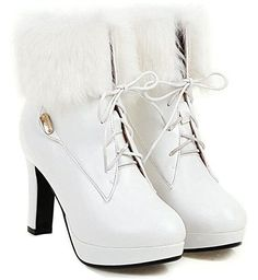 F2Y Womens Round Toe Lace Up Ankle Boots Autumn Winter Platform Chunky High Heel Booties OL Martin Boots 55BMUS White -- Read more  at the image link. (This is an Amazon affiliate link and I receive a commission for the sales and I receive a commission for the sales)
