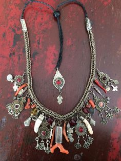 Moroccan silver and coral charm necklace