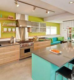 tiffany blue green wood steel grey kitchen