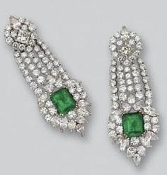 PAIR OF EMERALD AND DIAMOND PENDANT-EARCLIPS. Designed as five diamond-set fringes anchored and topped by floral clusters, set with 2 emerald-cut emeralds weighing approximately 12.00 carats, 28 pear-shaped, marquise-shaped and square-cut diamonds weighing approximately 9.75 carats and 100 round diamonds weighing approximately 13.20 carats, mounted in platinum and gold. by Dreamer412
