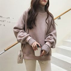 Hoodies Women 2019 Turtleneck Thicker Plus Velvet Warm All-match Pullovers Womens Korean Style Kawaii Trendy Elegant Clothing Hi Fashion, Korean Fashion, Nude Outfits, Fall Pants, Trends, Online Fashion Stores, Elegant Outfit, Hoodies, Sweatshirts