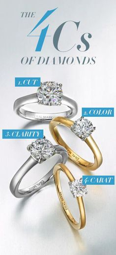 Before you make an important diamond purchase, you have to know the 4 C's! The cut is the proportions of the stone. The color of the diamond usually ranges from colorless to yellow. Clarity accounts for any cracks, bubbles or crystals in the structure. While carat is the stone's weight. Pay attention to each of these aspects when looking at the stone to make an educated purchase!