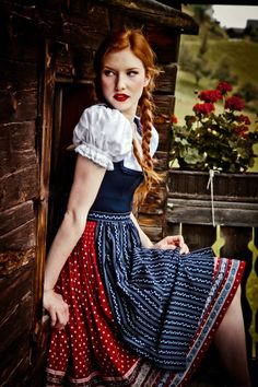 for-redheads, Lena Hoschek - DIRNDL A/W photographed by. Dirndl Dress, Dress Up, Fashion Mode, Womens Fashion, Fashion Beauty, Redhead Girl, Halloween Disfraces, Folk Costume, Costumes
