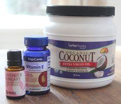 Coconut-Vitamin E Dry Skin Oil Per every 3 oz. of liquefied coconut oil, add 1 vitamin E capsule + 3 drops of essential oil.