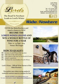 New Prize Category for Become the Lord's Wines Legend and WIN! Mountain Bike Races, Wines, Lord