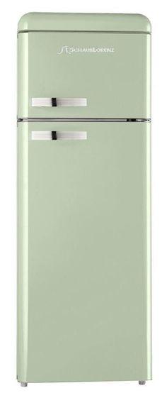 Lollipop Lollipop! Mint Green Schaub Lorenz refrigerator with built-in freezer at the top.