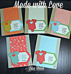 Get Crafty with Lisa: Made with Love. These cards feature Stampin' Up!'s Made with Love Stamp Set, Sweet Li'l Things Designer Series Paper and Baby's First Framelits Dies, by Lisa Rhine, www.getcraftywithlisa.com