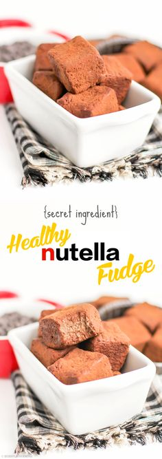 HEALTHY Nutella Fudge (yes, seriously) made with a secret ingredient! [sugar free, low carb, high protein, gluten free] This Nutella Fudge is sweet, chocolatey and satisfying, you'd never know it's good for you.  It's made with a surprising little ingredient that might just gross you out but DON'T WORRY, you can't taste it.  Trust me, nobody knew it was there!  It's 100% addicting, you'll want to steal the entire tray ;)