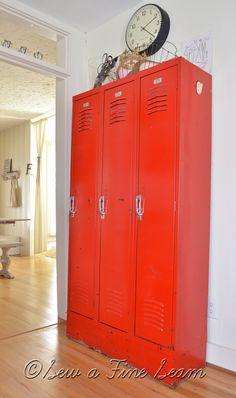 lockers create great storage...I love ALL the wonderful ideas she shares!! #doseofDIY2016