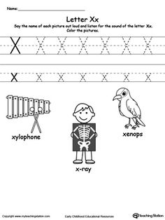 **FREE** Words Starting With Letter X Worksheet.Teach the beginning letter sound by saying the name of each picture and then allow your child to trace the uppercase and lowercase letter X in this printable activity worksheet. Preschool Writing, Preschool Letters, Learning Letters, Preschool Learning, Printable Alphabet Worksheets, Alphabet Activities, Kindergarten Worksheets, Handwriting Worksheets, Handwriting Practice