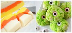 Halloween food ideas: Fudge candy corn and Monster eye cookies <--omg, *love* these!
