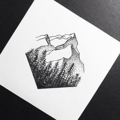 black tattoo mountains. Placement--between shoulder blades